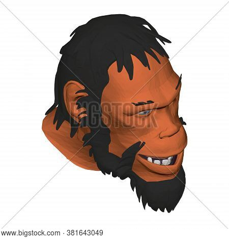 Low Poly Head Of A Neanderthal Man. Polygonal Head Of A Prehistoric Man. Isometric View. 3d. Vector