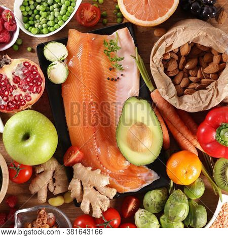 health food selection- fish, almond, fruit and vegetable collection