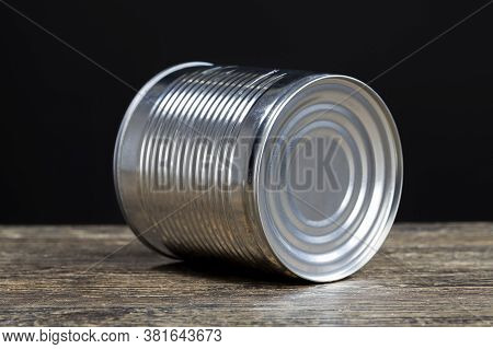Old Metal Can For Food Preservation, Close Up, Canning To Ensure Long-term Storage Of Food