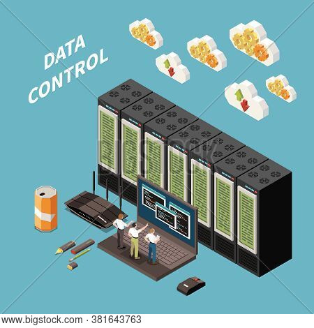 Datacenter Isometric Colored Concept With Data Control Headline And Abstract Server Room Vector Illu