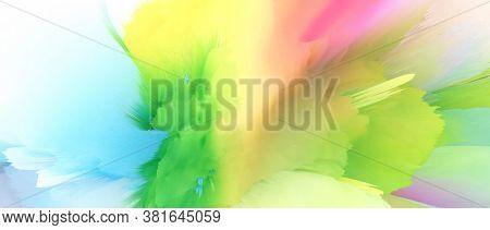 Digital Illustration. Color rainbow blot splash. Abstract long horizontal background.