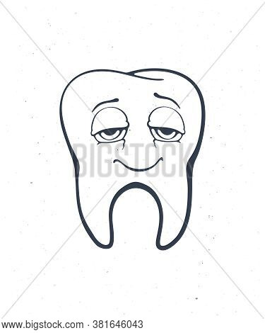 Satisfied Smiling Healthy Adult Human Tooth With Eyes After Eating. Outline. Vector Illustration. Sy