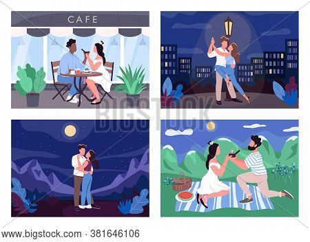 Romantic Activity Flat Color Vector Illustration Set. Man Propose To Woman. Lovers In Cafe. Dance In