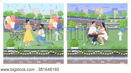 Couple Dates On Roof Flat Color Vector Illustration Set. Rooftop Dinner. Man Propose Engagement. Cou