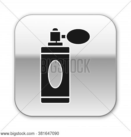 Black Aftershave Bottle With Atomizer Icon Isolated On White Background. Cologne Spray Icon. Male Pe