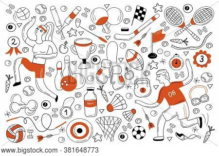 Sport Doodle Set. Colection Of Hand Drawn Sketches Templates Of People Doing Sport Playing Football