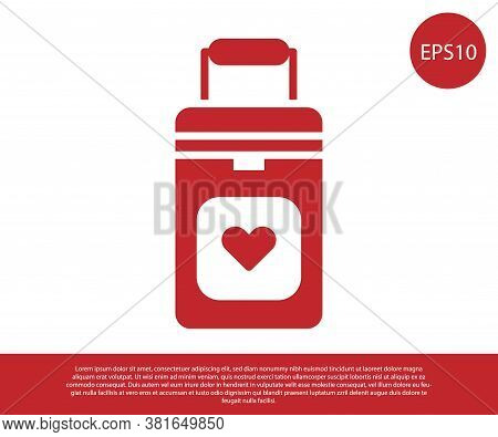 Red Cooler Box For Human Organs Transportation Icon Isolated On White Background. Organ Transplantat