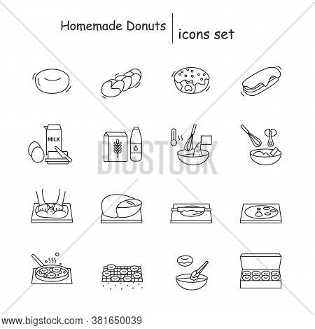 Homemade Donuts Icons Set. Deep Fried Donuts And Bread Home Baking Instruction Linear Pictogram. Con