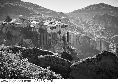 Ancient cloisters of Meteora in Greece - Black and white landscape