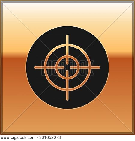 Black Target Sport Icon Isolated On Gold Background. Clean Target With Numbers For Shooting Range Or