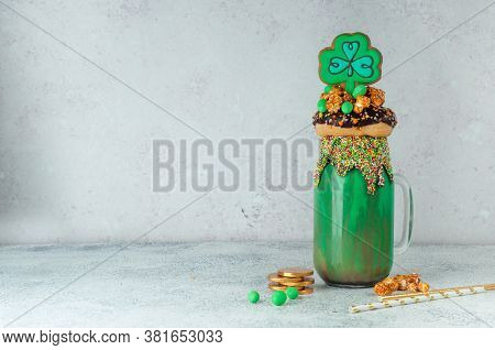 St. Patricks Day Green Freak Shake Topping With Clover Cookie With Copy Space