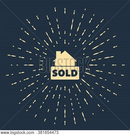 Beige Hanging Sign With Text Sold Icon Isolated On Blue Background. Sold Sticker. Sold Signboard. Ab