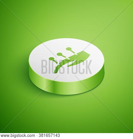 Isometric Acupuncture Therapy On The Hand Icon Isolated On Green Background. Chinese Medicine. Holis