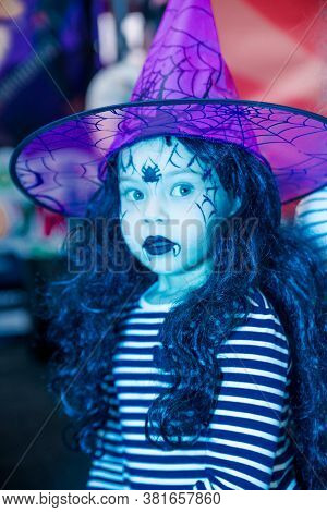 Minsk, Belarus - October 29, 2019. Halloween Celebration In The Shopping Center. Little Girl Dressed