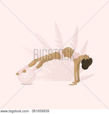 Pregnant, Girl Goes In For Sports On Gymnastic Ball. Aerobics On Fit-ball. Healthy Lifestyle, Home O