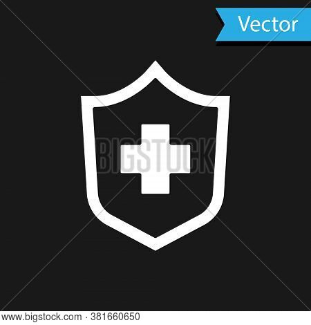 White Health Insurance Icon Isolated On Black Background. Patient Protection. Security, Safety, Prot