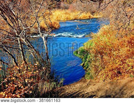 Blue Waters In The Autumn Gold - A Section Of The Deschutes River At Cline Falls State Park - West O