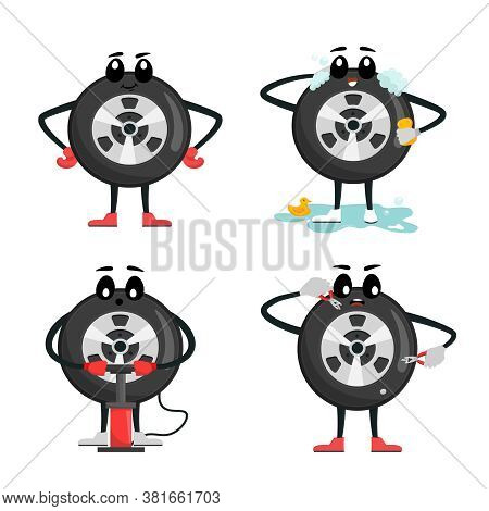 Tire Character Icons. Wheels And Tyre Fitting Service. Transportation, Tire Repair, Computerized Bal