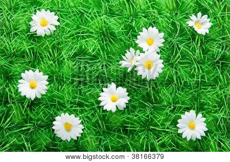Artificial Grass With Daisies