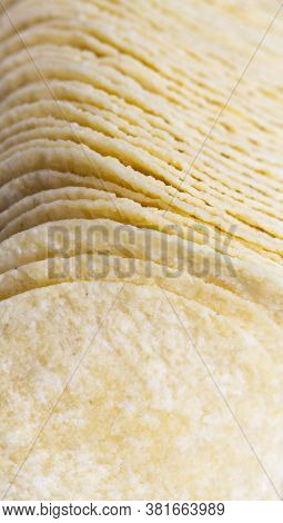 Real Crispy And Salty Potato Chips Ready To Eat, Closeup Of Unhealthy Food Products, Chips From Grat
