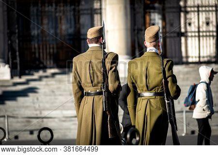 Guard Of Honor In The Kossuth Lajos Square (kossuth Lajos Ter) At Hungarian Parliament Building In B