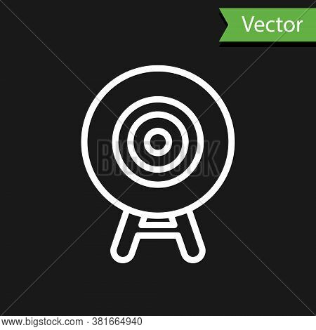 White Line Target Sport Icon Isolated On Black Background. Clean Target With Numbers For Shooting Ra