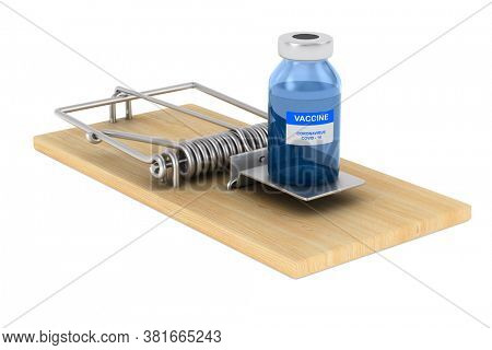 mousetrap and vaccine from covid-19 on white background. Isolated 3D illustration