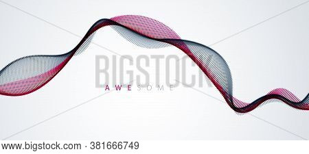 Vector Abstract Background With Wave Of Flowing Particles, Smooth Curve Shape Lines, Particle Array