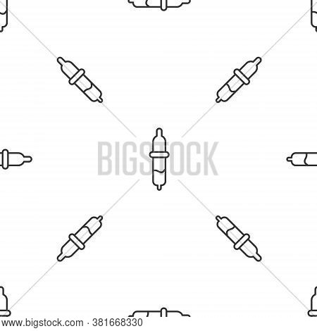 Grey Line Pipette Icon Isolated Seamless Pattern On White Background. Element Of Medical, Chemistry