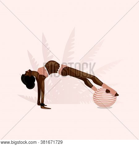 African American Pregnant Girl Goes In For Sports On Gymnastic Ball. Aerobics On Fit-ball.  Healthy