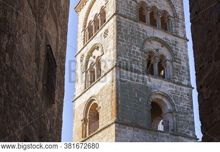 Torre Julia Santa Maria La Mayor Church, Trujillo, Spain. View From Downtown Street