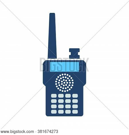 Portable Radio Icon. Flat Color Design. Vector Illustration.