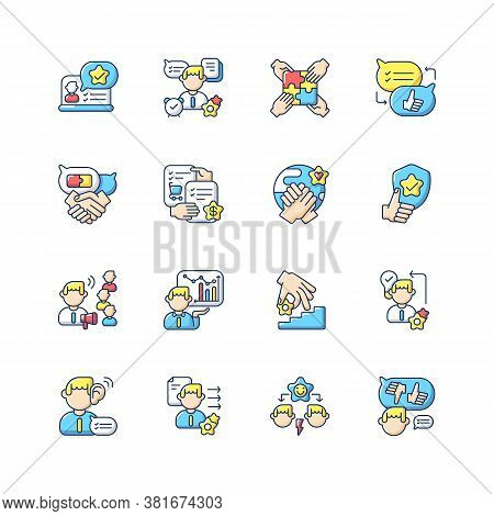 Communication Skills Rgb Color Icons Set. Different Professional Talents And Personal Traits. Self D