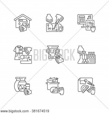 Handicraft Linear Icons Set. Home Renovation. Electrical Project. Music Production. Fashion Industry