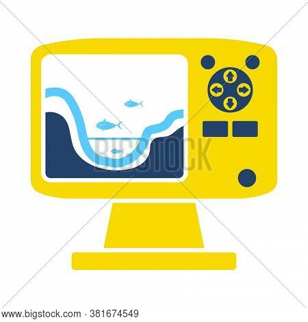 Icon Of Echo Sounder. Flat Color Design. Vector Illustration.