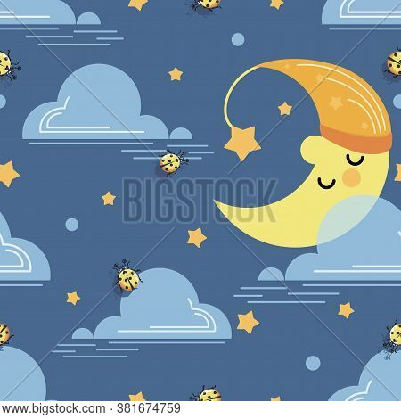 Cartoon Month. Baby Vector Background. Moon, Ladybug And Cloud On Blue Sky Background. Design For Ba