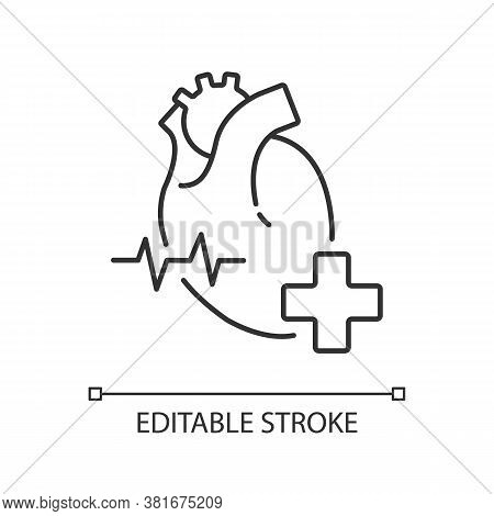 Cardiology Department Linear Icon. Cardiology Consultant. Medical Diagnosis. Cardiac Surgeon. Thin L