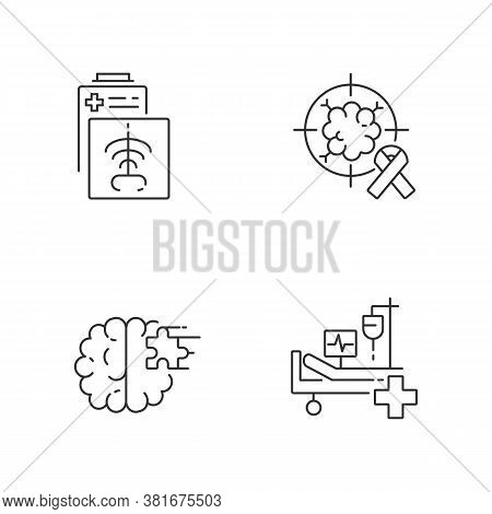 Health Care Services Linear Icons Set. Ct Scan. Intensive Care Unit. Cancer Treatment Center. Xrays
