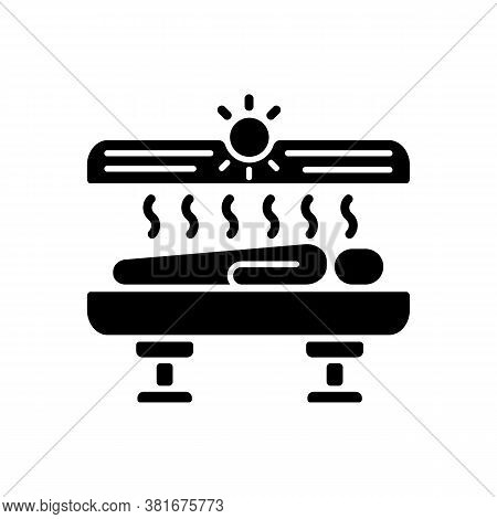 Tanning Black Glyph Icon. Solarium. Indoor Tanning And Sunbathing. Sunbed. Spa Salon Tanning Machine