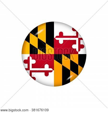 Icon Flag Of Maryland . Round Glossy Flag. Vector Illustration. Eps 10