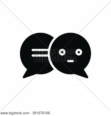 Black Solid Icon For Speech-bubbles Talk Gossip Dialog Speak Chatting Forum Communication Message Co