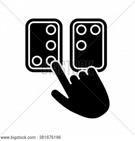 Braille Directions Black Glyph Icon. Tactile Reading System For Blind Persons. Writing System. Brail