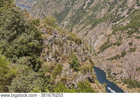 Ribeira Sacra. Sil River Canyon In Galicia. Boat Tour. Spain