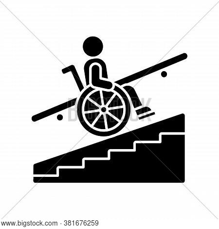 Step Free Access Black Glyph Icon. Wheelchairs And Strollers Access. Avoiding Stairs. Accessible Tra