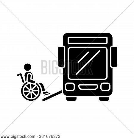 Bus Ramp Black Glyph Icon. Bus Wheelchair Ramp. Vertical Platform Lift. Accessibility Device. Conven