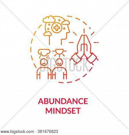 Abundance Mindset Concept Icon. Biohacking Tips, Psychosomatics Idea Thin Line Illustration. Positiv