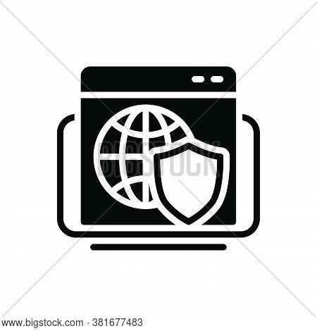 Black Solid Icon For Web-shield Web Shield Safeguard Protection Network Organization Grid Cyber Inte
