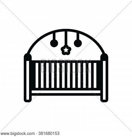 Black Solid Icon For Play-pen Rocking Cradle Hammock Bassinet Baby-bed Crib Comfortable Seesaw Furni