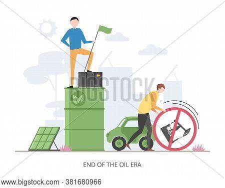 End Of Oil Era Concept, Flat Vector Illustration