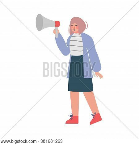 Businesswoman Shouting Through Loudspeaker, Social Media Marketing Concept, Business Promotion, Adve